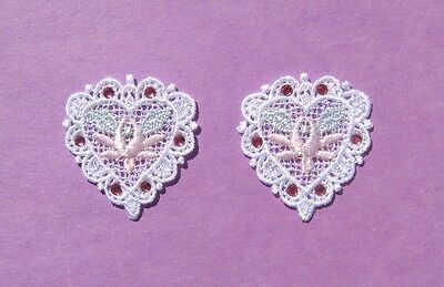 2 Small Floral Venise Lace Heart Appliques With Pink Rhinestones - OB2