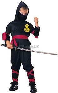 Kinder Jungen Faschingskostüm Ninja Samurai Assassin Krieger Schwarz