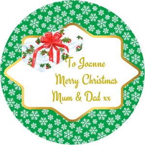 personalised gloss christmas label snowflake design present gift