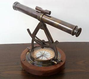 Antiguedad-Replica-Laton-Teodolito-Alidade-Telescopio-Brujula-Survey-Instrumento