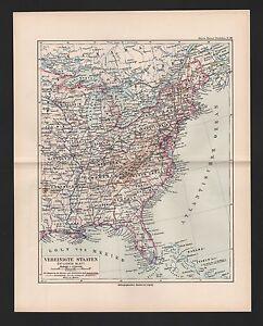 DéTerminé Carte Map 1892: États-unis États-unis Orientale Feuille-afficher Le Titre D'origine à Tout Prix