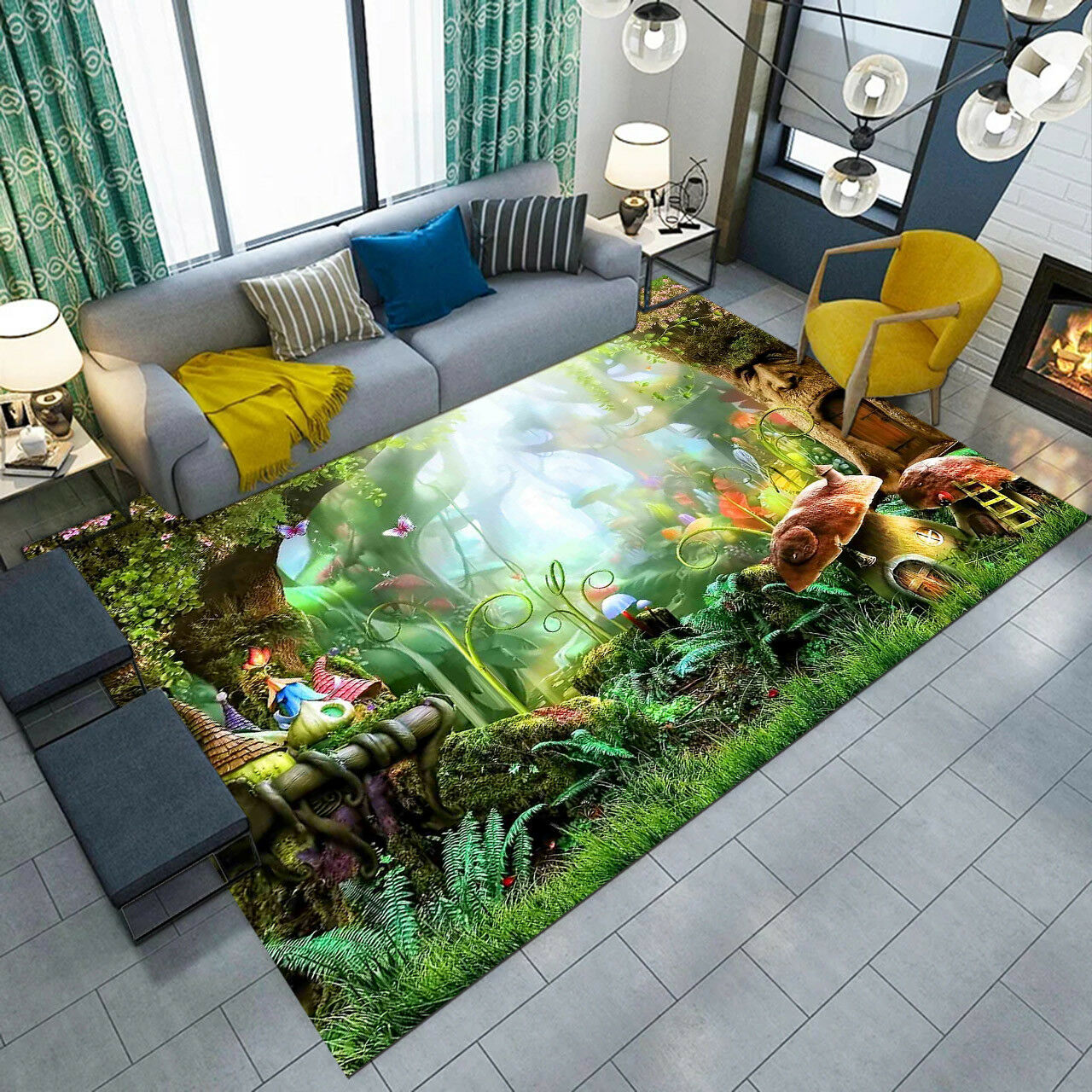 Fairy Tales Mushroom Jungle Area Rugs Kids Play Floor Mat Living Room Carpets