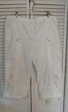 Style & Co. Womens Cargo Capri Pants Bright White Sz 18 W Stretch Spandex