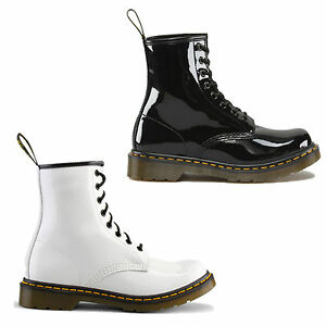 New-Dr-Martens-1460-Patent-Black-White-Boots-Ladies-Shoes-Size-UK-4-9