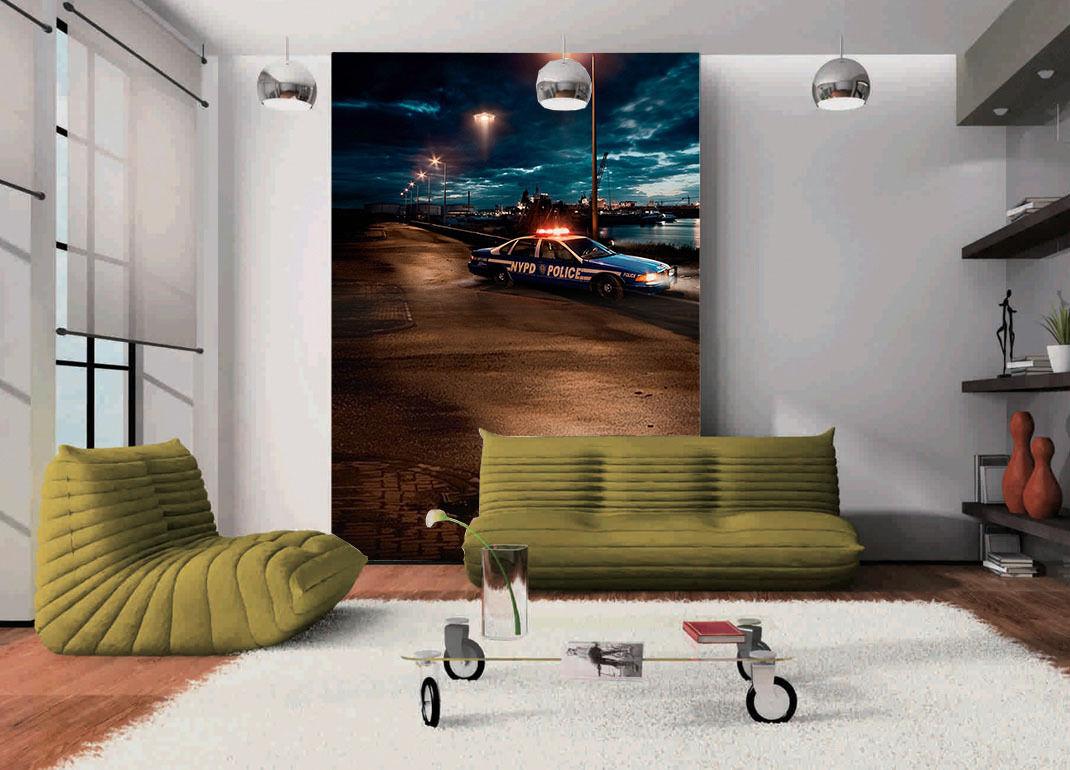 3D Riverside night, taxi 233 Wall Paper Wall Print Decal Wall Deco AJ WALLPAPER