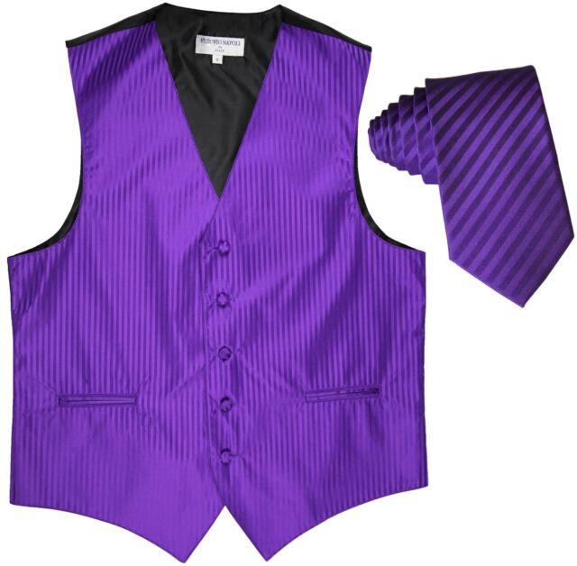 "Men's Vertical stripes Tuxedo Vest Waistcoat & 2.5"" Skinny Slim Tie Purple"