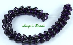 25-Tanzanite-Czech-Glass-Beads-Bell-Flower-8-6mm