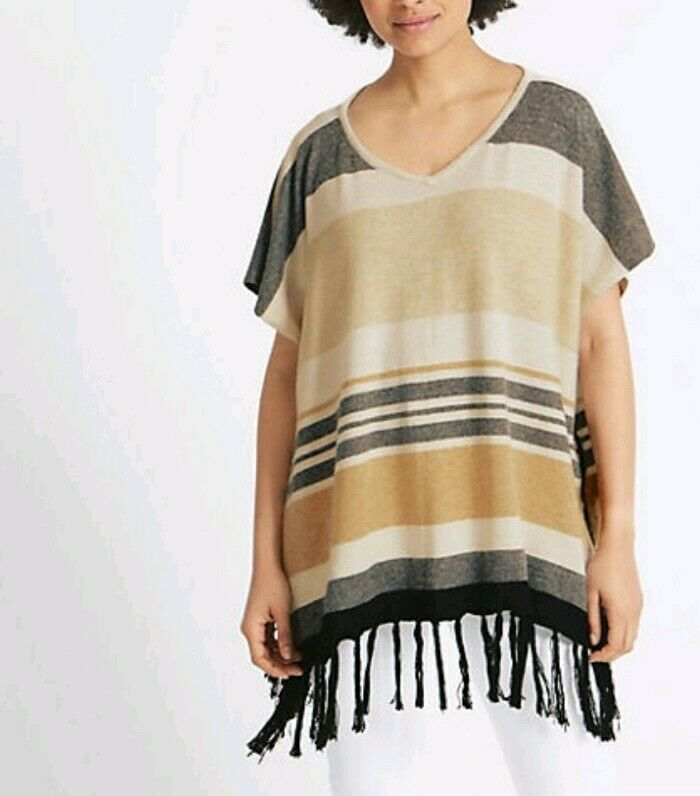 AgréAble M&s Collection Rayé Tassel Poncho-iped Tassel Poncho