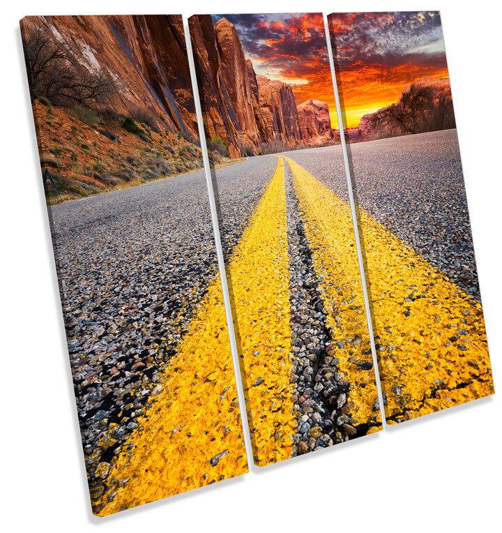 Highway Coloreeado Utah SUNSET triplicare CANVAS Wall Art quadrato quadrato quadrato foto stampa fed459