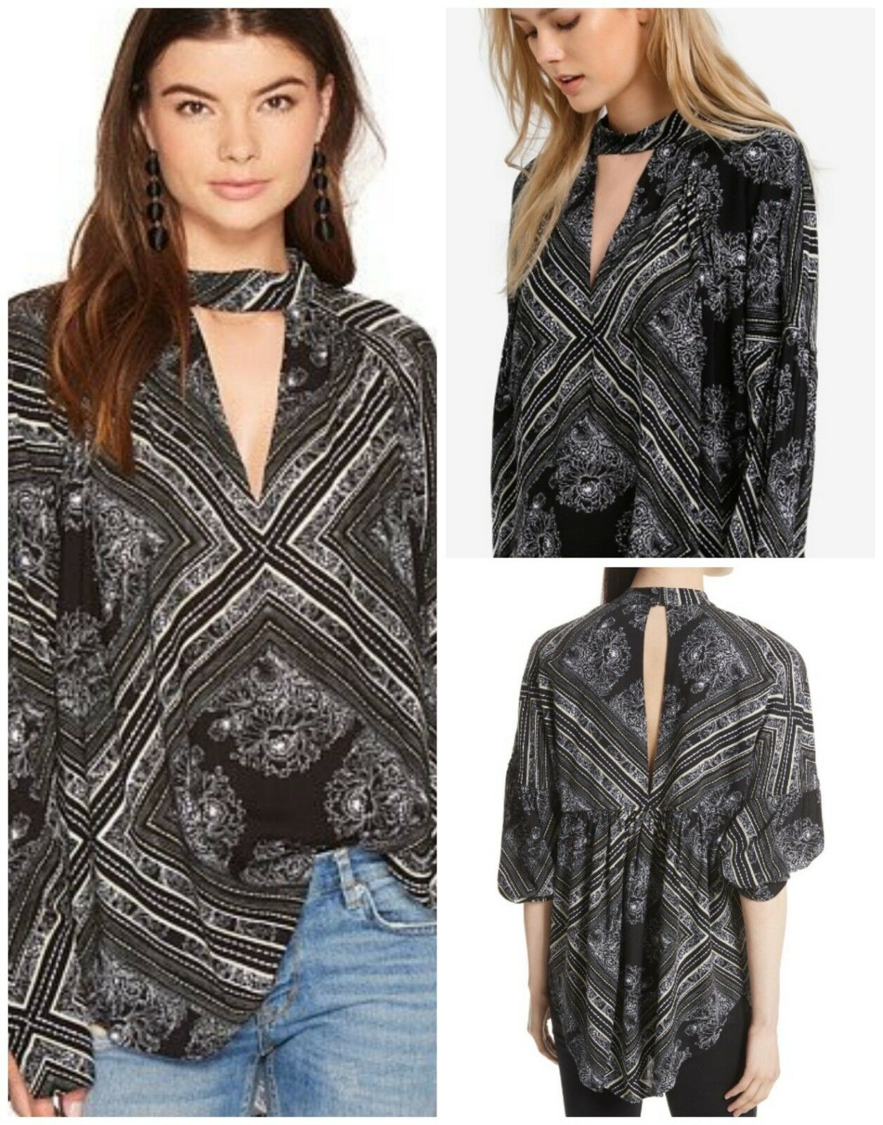 NWT Free People Walking on a Dream XS Tunic Bohemian Top Keyhole Peasant Blouse