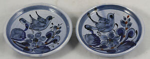 Vintage Mexican Ceramic Hand Painted Dishes w Bird Set of 2 Folk Art Decorative