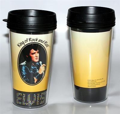 ELVIS PRESLEY King of Rock and Roll Music YELLOW PLASTIC TRAVEL MUG 16 oz New