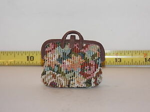 Dollhouse Miniatures Carpet Bag Mary Poppins Style Artist Handmade Purse Luggage