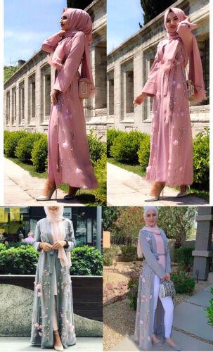 Dubai Kimono Abaya Dress Muslim 3D Floral Embroidery Cardigan Islamic Women Robe