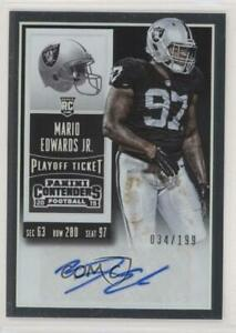 2015 Panini Contenders Playoff Ticket /199 Mario Edwards Jr #115 Rookie Auto