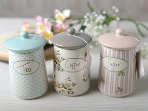 Set Of 3 Katie Alice Cottage Flower Ceramic Storage Jars