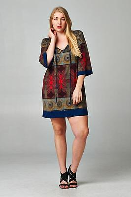 NEW Boutique Tua Tunic Dress Multi-Color Tassel Neckline Long Shirt sz 1X  #5518