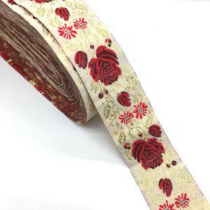 10-Meters-Rose-Flower-Jacquard-Ribbon-Embroidery-Floral-Braid-Trim-DIY-Craft