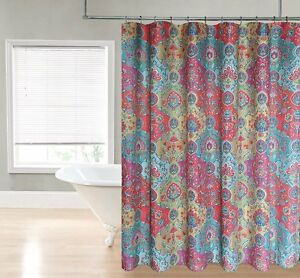 Marrakech Moroccan Paisley Floral Teal Pink Blue Gold Fabric Shower Curtain