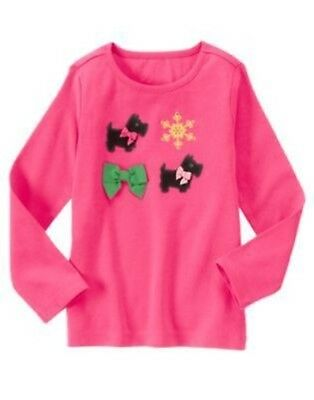GYMBOREE CHEERY ALL THE WAY PINK SCOTTIE N BOW L/S TEE 3 4 5 6 7 8 9 10 12 NWT