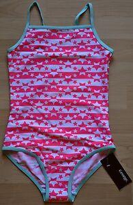 Badeanzug-034-Stars-and-Stripes-pink-034-Gr-128-134-Sterne-England-Mode