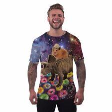 Mens Novelty Holiday T Shirt Hamster Dinosaur Funny Rave Printed Clothing - M
