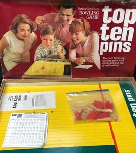 1965-Top-Ten-Pins-Bowling-Game-Parker-Brothers-Vintage-Board-10-Parts-Pieces