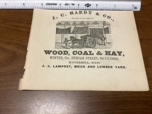 original removed 1869 ad: J C Hardy & co WOOD, COAL & HAY w vignette horse wagon
