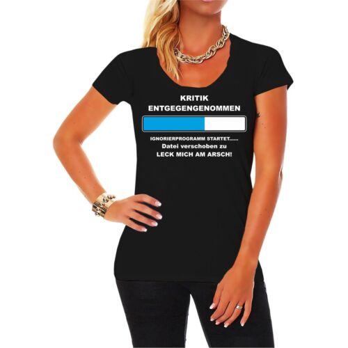 Frauen Mädchen T-Shirt Kritik entgegengenommen LECK MICH AM ARSCH lustig Spruch