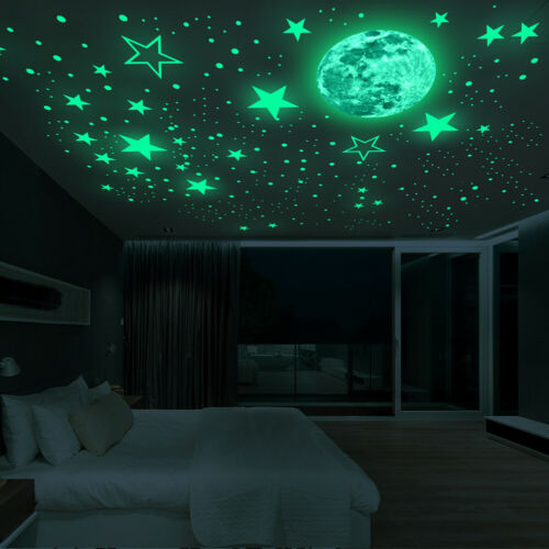 3D Wall Stickers Luminous Dots Stars and Moon Wall Decals Removable Waterproof