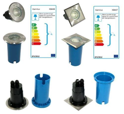 Bodeneinbauleuchten Aussenstrahler Terra 230V für LED Schutzglas Edelstahl IP67