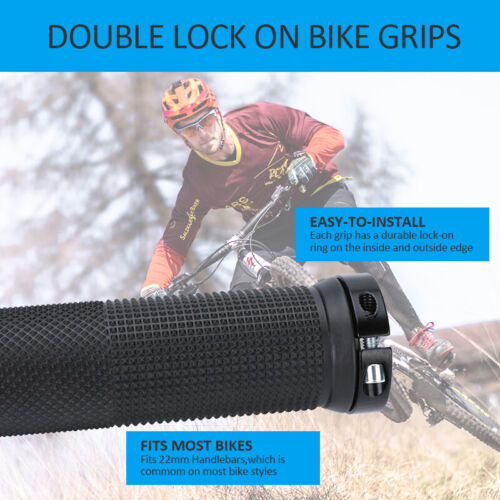 2Pcs Double Dual Lock On Locking Mountain Bike Bicycle Cycling Handle Bar Grips