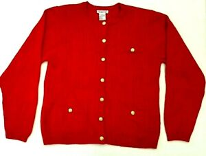 Talbots-Womens-Size-M-Red-Merino-Wool-Button-Pockets-Front-Knit-Cardigan-Jacket