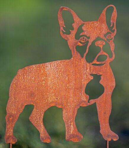 Edelrost Gartenstecker Mops//Bulldogge Beppo Hunde Tierfigur auf Stab