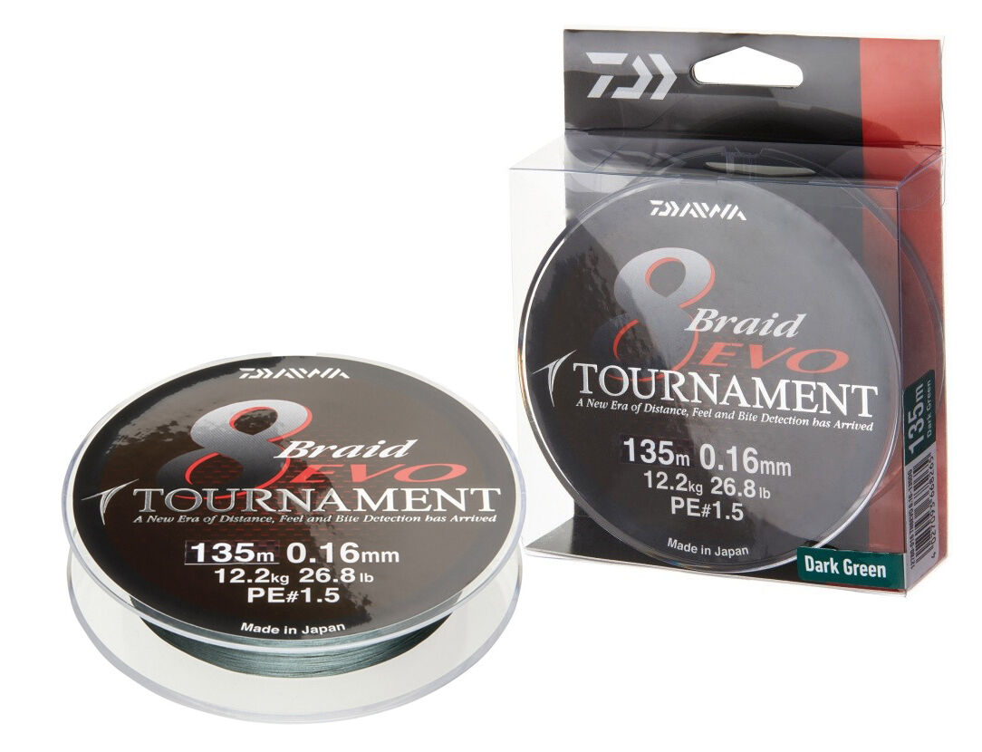 Daiwa Tournament 8 Braid Evo   300m   Dark Green   braided line