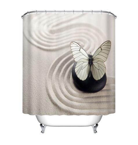 """60x72/"""" Sable Blanc Noir Stone Zen papillon tissu imperméable rideau de douche set"""