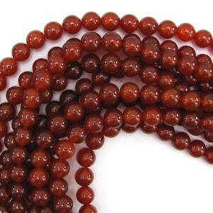 "Red Carnelian Round Beads Gemstone 15"" Strand 4mm 6mm 8mm 10mm 12mm"