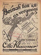 BERLIN, Werbung 1925, Otto Klausner Fabrik Stiefel Schuhe