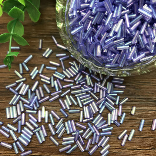 DIY 2x6mm 400 pcs Glass Tube Bugle Beads Jewelry Making color Beads wholesale#02