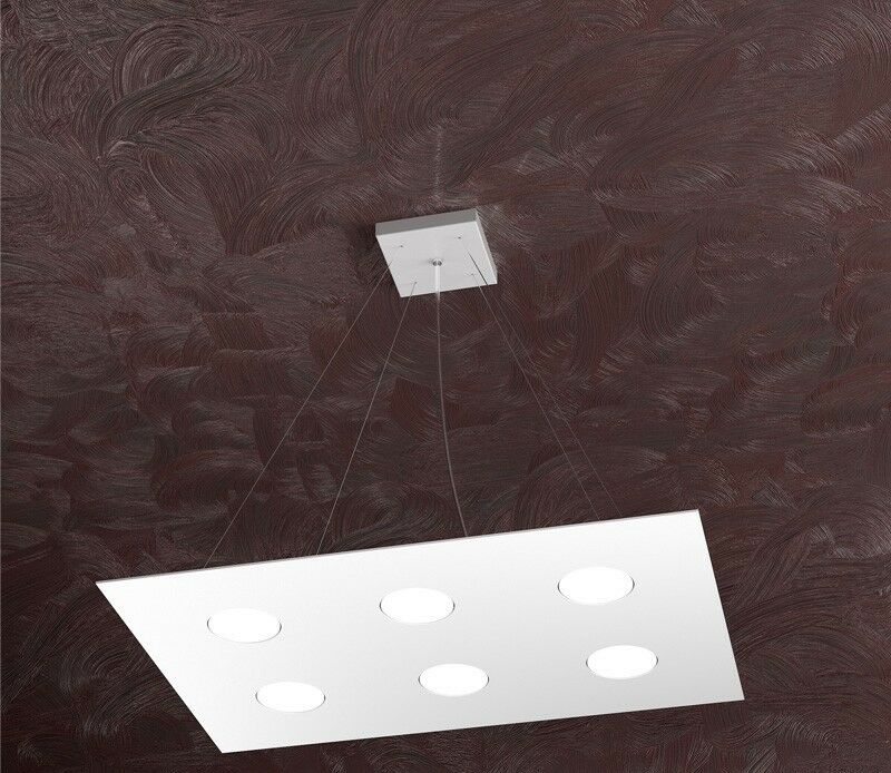 SOSPENSIONE LED RETTANGOLARE MODERNA LAMPADARIO IN METALLO TOP LIGHT AREA 6 LUCI