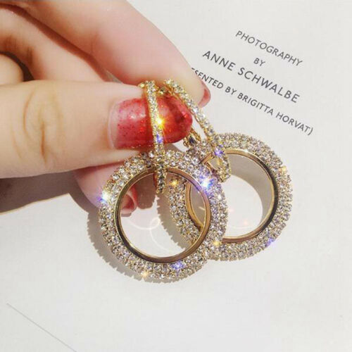 Womens Luxury Round Earring Crystal Geometric Hoop Earrings Fashion Jewelry Gift