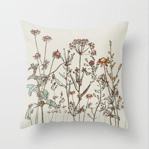 Soft Car Pillowcase Floral Plant Pattern Cushion Cover Chiar Pillow Cover Q