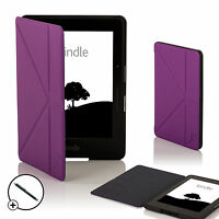 Leder Lila Smart Origami Hülle für Amazon Kindle Fahrt + Stift