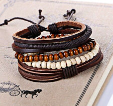 UK Ladies Leather Beach Surfer Stacker Cool Bracelet Wristband for Men Women New