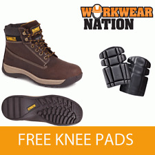 Dewalt Apprentice Leather Flexi Hiker Safety Work Boot Brown Free Knee Pads