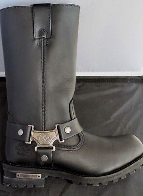 Milwaukee MBM131-BLK-9.5 Mens Classic Harness Motorcycle Boots Black, Size 9.5