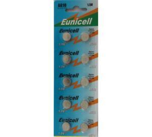 10-x-EUNICELL-AG10-LR1130-189-LR54-390-389-1-5-V-Bouton-Coin-Batterie