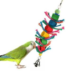 Hang-Pet-Cockatiel-Bird-Rope-Hole-Ladder-Parrot-Multiple-Colour-Play-Chew-Toy-AA
