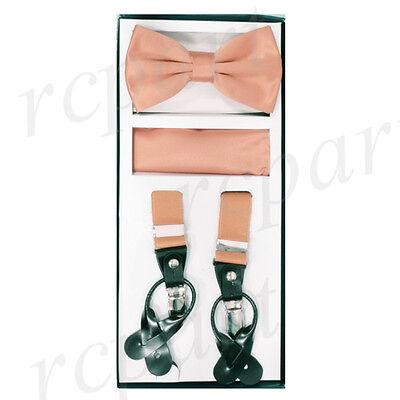 New Y back Men/'s Vesuvio Napoli Suspenders Bowtie Hankie clip on beige
