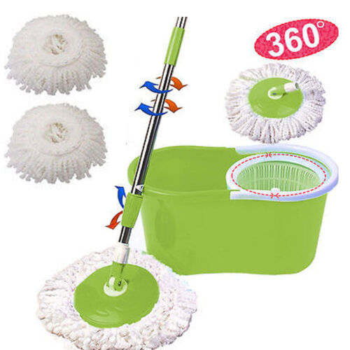 360 Magic Spin Mop Microfiber Spinning Easy Floor with Bucket 2 Heads Rotating